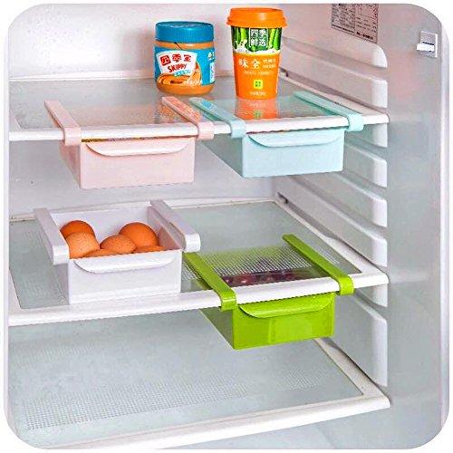 HapiLeap Plastic Kitchen Refrigerator Fridge Storage Rack Freezer Shelf Holder Kitchen Space Saver Organization (2Pcs)