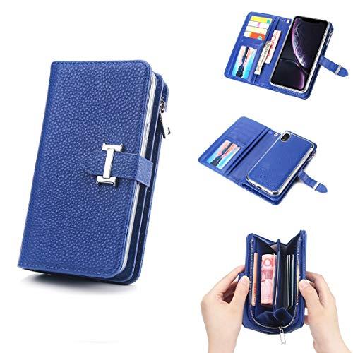 JIADUOBAOSEN Einfache Business reine Farbe trennbar ich Wort Schnalle Litschi Textur Flip Leder Brieftasche für iPhone XR mit Reißverschluss & Kartensteckplatz & Fotorahmen & Lanyard (Farbe : Blau)
