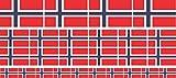 Mini Aufkleber Set - Pack glatt - 4x 51x31mm+ 12x 33x20mm + 10x 20x12mm- selbstklebender Sticker - Norwegen - Flagge / Banner / Standarte fürs Auto, Büro, zu Hause und die Schule - Set of 26