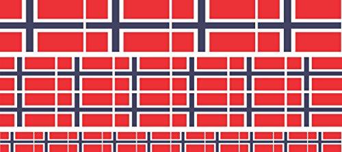 Mini Aufkleber Set - Pack glatt - 4x 51x31mm+ 12x 33x20mm + 10x 20x12mm- selbstklebender Sticker - Norwegen - Flagge / Banner / Standarte fürs Auto, Büro, zu Hause und die Schule - Set of 26 -