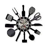 Reloj De Pared De Discos De Vinilo Utensilios De Cocina Familias Habitación Decoración Para Pared Salon Habitacion Dormitorio Oficina Estudio Diámetro 30CM,B