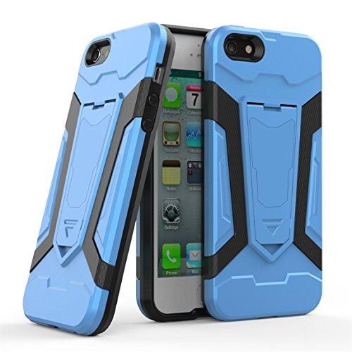 Apple iPhone 5 5G 5S SE Coque [Armure Series], Voguecase 2 in 1 Shockproof Hybrid Doux TPU and Hard PC Rigide Protecteur Coquille Shell Housse Étui avec Built-in Kickstand (Vert) + Gratuit stylet l'éc Bleu