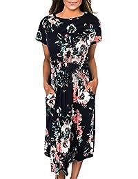 fd365145e YMING Women Floral Dress Boho Style Long Dress Flower Print Casual Maxi  Dress,S-