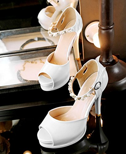 Aisun Damen Modern Kunstleder Peep Toe Plateau Strass Künstlich Perlen Riemchen Trichterabsatz Sandale Weiß