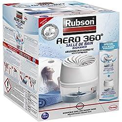 Rubson AÉRO 360° Absorbeur d'Humidité spécial Salle de Bain, Déshumidificateur anti-odeur, Absorbeur anti-humidité & condensation, 1 appareil + 1 recharge de 450 g