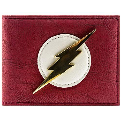 Comics Dc Der Kostüm Blitz - DC Comics Flash Glänzende Goldabzeichen Rot Portemonnaie Geldbörse