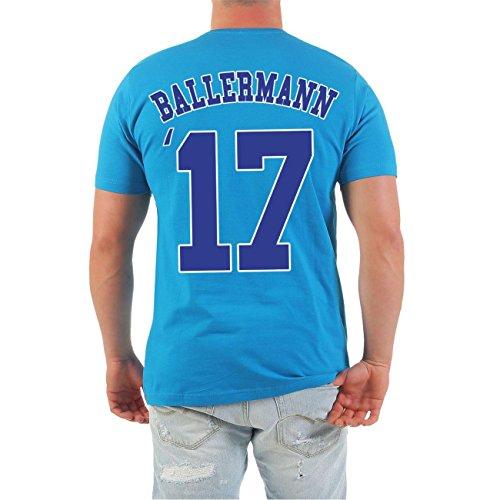 Männer und Herren T-Shirt MALLE Ballermann Stammgast BLAU (mit Rückendruck) türkis F