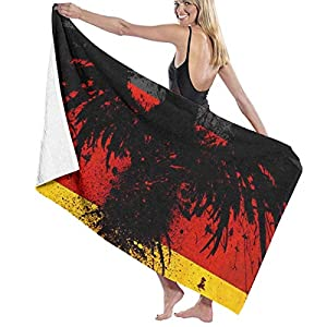Zhengzho Bandiera della Germania con l'aquila d'inchiostro Asciugamani da Piscina in Microfibra 80X130 cm Quick Dry Altamente Assorbente Uso Multiuso Coperta da Spiaggia per Donna Uomo