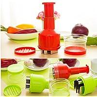 qiecaiqi Cortador de cebolla cocina multifuncional Shredder vegetal Manual creativo,verde