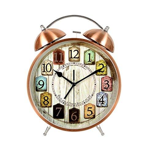 Lily Stiller Wecker Retro kreative 8,5-Zoll-Metall-Wecker, stilvolle Stummschaltung Tischuhr, Studie Desktop Clock, Kupfer Multifunktional (Pattern : B) (Alarm Clock Radio Für Teenager-mädchen)