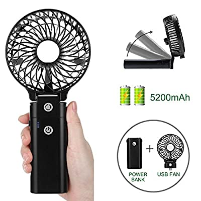 COMLIFE Mini Handheld Fan, Foldable Rechargeable Battery Operated Desk Fan, Portable Personal USB Cooling Fan Home, Office, Travel Outdoo