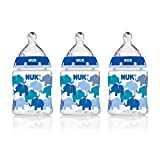 NUK Elephants and Butterflies Fashion Orthodontic Bottle in Assorted Patterns, 5 Ounce, 3 Count