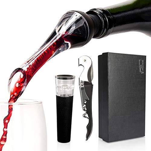 Yobansa set di accessori per vino, cavatappi per vino, versatore per vino, tappo per vino (nero)