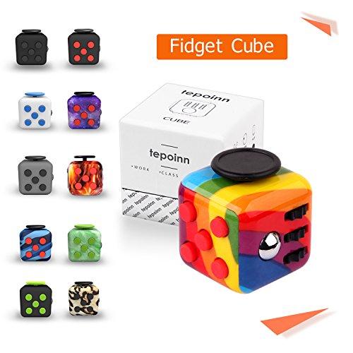 Tepoinn Fidget Attention Cube soulage le stress et l'anxiété Développement éducatif Jouets pour ADD, ADHD, anxiété et autisme Enfants et adultes (Arc en ciel)