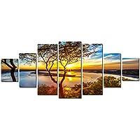Startonight Grande Cuadro sobre Lienzo Puesta de sol en el Lago, Impresion en Calidad Fotografica Enmarcado y Listo Para Colgar Diseño Moderno Decoración XXL Formato Multipanel 7 Piezas 100 x 240 CM
