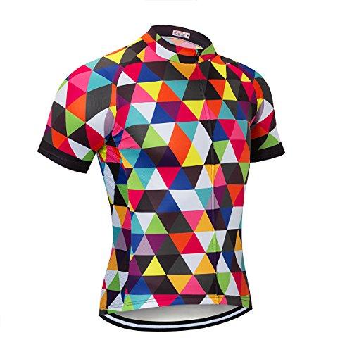 NASHRIO Herren Radtrikot kurzärmlig Rennrad Trikot Tops Fahrradbekleidung - atmungsaktiv und schnell trocknend mit 3 Taschen, Herren, Multicolored Diamond, Large -