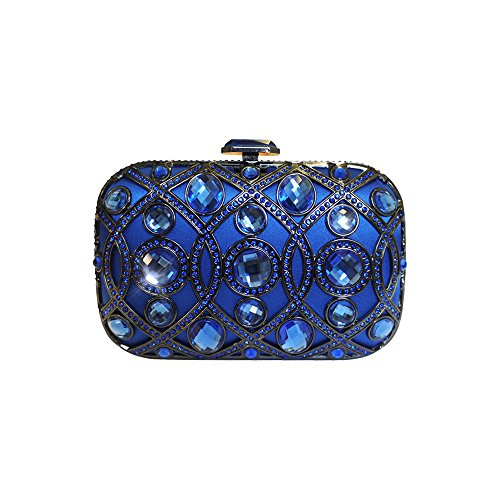 Anna Cecere italienische entworfen lustrino Juwel Clutch Abendtasche - Blau (Blue Handtasche Jeweled)