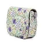 Motif fleurs coloré Cuir PU Camera Sac à bandoulière Coque de protection Housse étui pour Fujifilm Instax Mini 88+ 9
