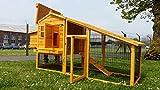 Hühnerstall Hühnerhaus Eggshell Kingston Hühnerstall mit Laufgehege, schützt vor Füchsen, tragbar, geschweißter/beschichteter 3-mm-Draht, mit Nistkasten, für 5-8 Hühner, 220 cm