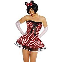 Minnie Mouse de de disfraces vestido, cinturón, pelo maduro, String Rojo/Blanco, mujer, multicolor, XS-M