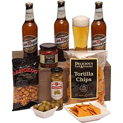 A Taste of Spain - Beer Hamper - Hampers For Him - San Miguel Beer and Spicy Food Treats