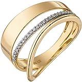 Jobo Damen Ring breit mehrreihig 585 Gold Gelbgold 24 Diamanten Brillanten Goldring Größe 56