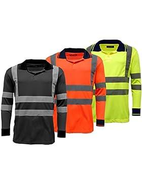 Polo para camisas Hi Vis de alta visibilidad Manga Larga Viz seguridad work-wear Camisa