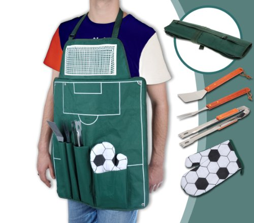 'Football' Apron with cutlery and gloves - accessories for barbecue
