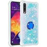 Funda Samsung Galaxy A50/A505/A30S/A50S TPU Silicona Purpurina Carcasa,Funda para teléfono móvil de Arena movediza líquida en con Base de Anillo de Diamantes (Estrellas Azules Fluorescentes)