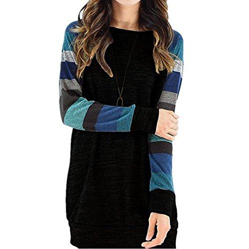 Vestito da donna delle ragazze pullover sciolto Camicia a manica lunga in camicetta con tunica Maglietta colorata del manicotto Bei vestiti S-2XL Kootk Nero B