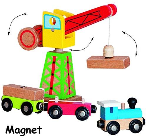 6 tlg. Set - MAGNET - Kran & Eisenbahn mit Anhänger Waggon & Ladebausteine - aus Holz - für Holzeisenbahn - passend für alle gängigen Schienen-Systeme - z.B. Brio / Heros / Eichhorn / Ikea u.v.m. - Zubehör magnetisch - Bahn / Kranset - Magnetkran Baustellen Fahrzeug
