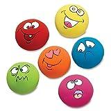 Amphia - 6 Ausdrücke Haustier kauen Spielzeugausdruck Feste Farbe zufällig,Schoßhund-Welpen-Spiel-quietschender Ball mit Gesicht Spielzeug