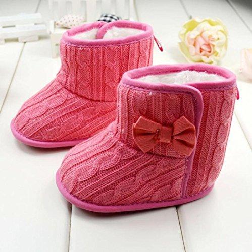 Longra Baby-Bowknot weiche Sohle Winter warme Schuhe Stiefel Wassermelonenrot