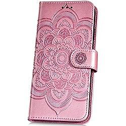 JAWSEU Funda Compatible con Samsung Galaxy A50, Carcasa PU Cuero Flip Libro Billetera Soporte Tapa Funda con Mandala Flores Diseño Cierre Magnético Ranura para Tarjetas Protectora Cubierta,Oro Rosa