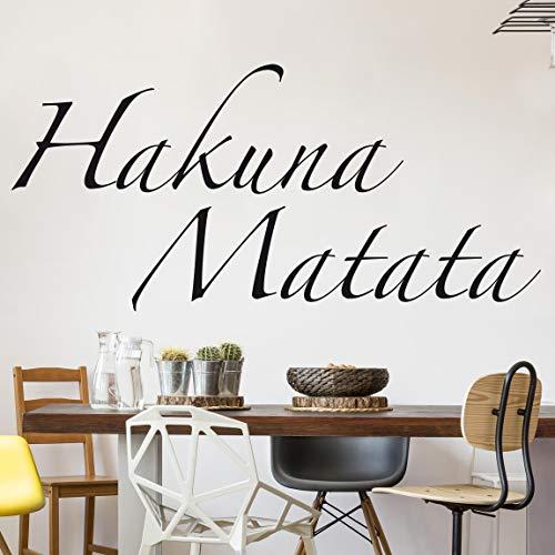 Wandtattoo No.SF363 Hakuna Matata Hakuna Matata Afrika Lebensart Lebenskunst, Farbe:Schwarz;Größe:15cm x 90cm
