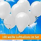 Luftballons für Hochzeit - 100 weiße Luftballons - Luftballons Helium geeignet