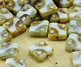 Square 6pcs Picasso Marrón Ópalo piedra de la Luna Blanca de la Ventana de Tabla de Corte Cuadrado Plano checa Perlas de Vidrio de 10mm