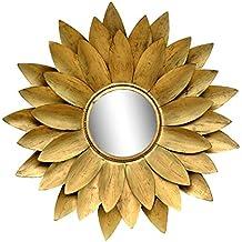 Diseño de flores de color Dorado Metal y vidrio montado en la pared espejo arte de pared colgante decorativo