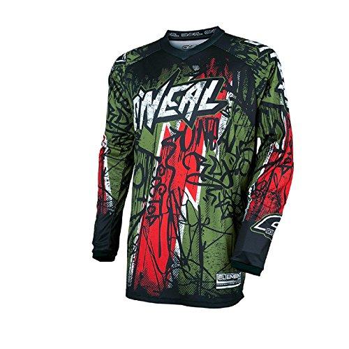 O'Neal Element Vandal Jersey Grün Rot MX MTB DH Trikot Motocross Offroad, 0028-60, Größe M