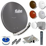 Fuba Digital Sat-Anlage 4 Teilnehmer | Fuba DAA 850 in Wunschfarbe + DEK 416 Quad LNB + 100m GKA 740 Koaxialkabel inklusive F-Stecker + Antennenmast + Montageset