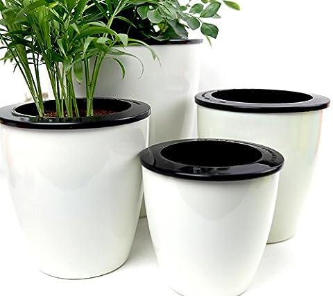 mkono Lot de 3pots à fleurs d'arrosage automatique d'arrosage en plastique PP bureau Home Decor Pots de fleurs -- Blanc, blanc, M