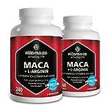 2 Dosen Maca Kapseln hochdosiert 4000 mg + L-Arginin 1800 mg + Vitamine + Zink, 240 Kapseln für 2 Monate, Qualitätsprodukt-Made-in-Germany, jetzt zum Aktionspreis und 30 Tage kostenlose Rücknahme!