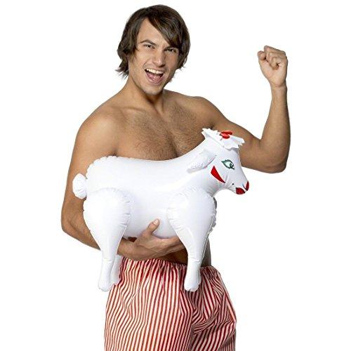 Pecora gonfiabile buffa divertente animali da gonfiare colore bianco bestia da fattoria accessorio party