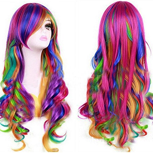 Europe America Colourful Long Wavy Rainbow Wig Hair For Women Lady by CeXin