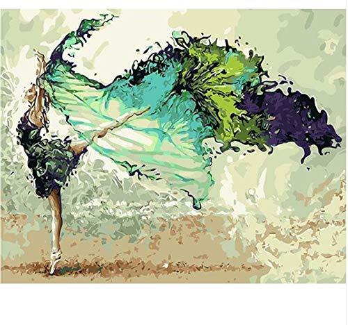 Yangll Rahmenlose Malerei & Kalligraphie Tänzerin DIY Malen Nach Zahlen Moderne Wandkunst Bild Einzigartiges Geschenk Für Wohnkultur 40X50 cm