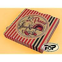 "100 Pizzakartons Pizzaboxen braun NYC New York 4,2cm hoch ""Pizzabäcker"" verschiedene Größen zur Auswahl (36x36x4.2cm)"