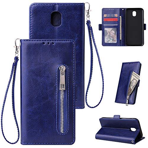FNBK Kompatibel mit Hülle Samsung Galaxy J7 2018 Handyhülle Leder Handytasche Reißverschluss Brieftasche Flip Case Slim Luxus Schutzhülle Handschlaufe Kredit Karten Magnetische Ständer,Blau