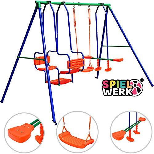 Deuba Schaukelgerüst | Kinderschaukel | bis 250kg max. | mit Montagematerial & Bodenanker | Gartenschaukel Schaukelwippe Tellerschaukel für Kinder