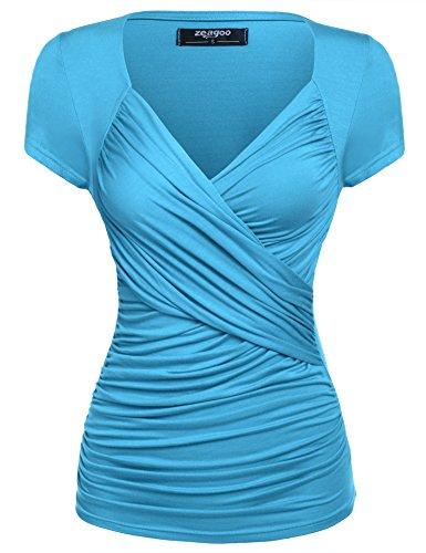 Zeagoo Damen Sexy V-Ausschnitt Kurzarm Tunika Blusen Oberteile Shirt mit Rüschen (EU 44(Herstellergröße:XXL), A-Hellblau)