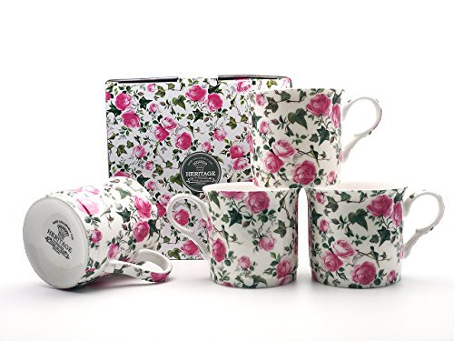 BROOKES EMPIREWARE Ivy Rose (FBCh) Coupe Mug Kaffee Tasse cup Fine Bone China Porzellantasse Tasse Becher tazza taza 4set 10cm 300ml 703-1410 Ivy Bone China